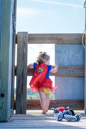 Supergirl waiting to take on the day